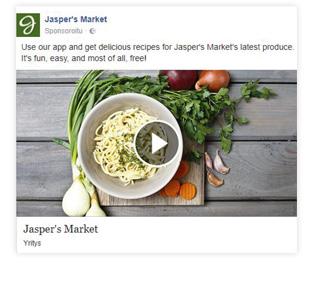 Facebook videomainos esimerkki
