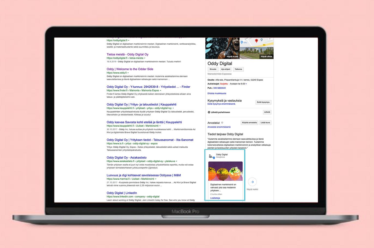 Esimerkki Google Post -julkaisusta Google haussa